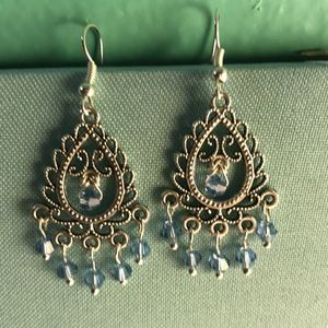 Chandelier earrings with blue Austrian crystals